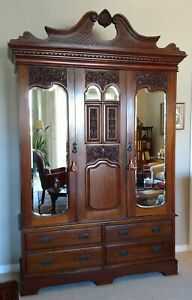 Late 19thc French Mahogany Wardrobe Armoire W Inlay Carvings Bevelled Mirrors