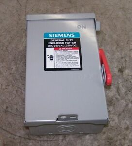 New Siemens 30 Amp Fused Safety Switch 240 Vac 3 Hp 1 Phase Nema 3r Gf221nra