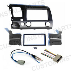 Grey Double Din Car Radio Dash Kit W Wiring Harness Fits 2006 2011 Honda Civic