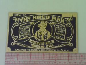 Associated The Hired Man Engine Reproduction Name Plate Tag Nameplate