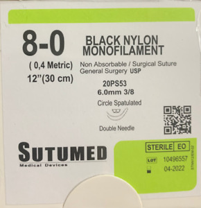 Sutumed Nylon 8 0 3 8 6 0mm Spatulated Double Armed Surgical Suture