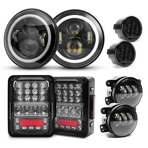 For Jeep Wrangler Combo Dot 7 Halo Led Headlights Tail Lights Fog Turn Lights