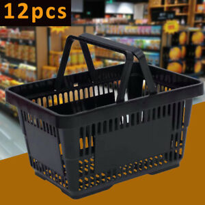 Durable Black Plastic Shopping Basket With Invisible Handle Design Set Of 12 New