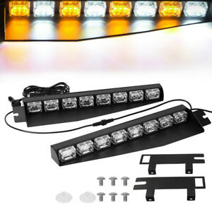 48w Led Visor Light Amber White Hazard Emergency Windshield Strobe Light Bar 12v