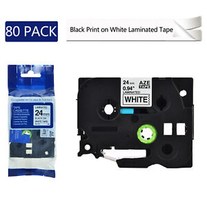 80pk Tz 251 Tze 251 Black On White Label Tape For Brother P touch Pt 1400 24mm