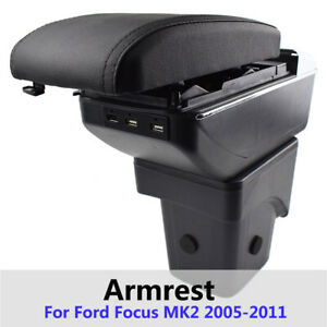 For Ford Focus Mk2 05 11 Central Console Usb Armrest Storage Box Leather Styling
