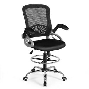 Adjustable Height Mid Back Mesh Drafting Chair Computer Chair