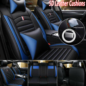 5 seats Car Seat Cover Cushions Pu Leather Front Rear Universal Black blue Set