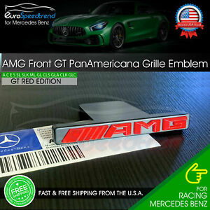 Amg Emblem Gt Panamericana Front Grille Red Badge Mercedes Benz C43 E43 Gl63