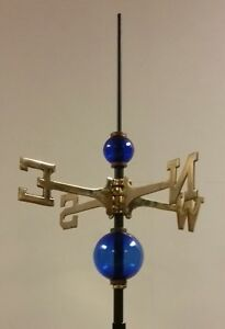 Full Weathervane Set Up 2 5 4 5 Glass Balls Roof Mount Rod Directionals