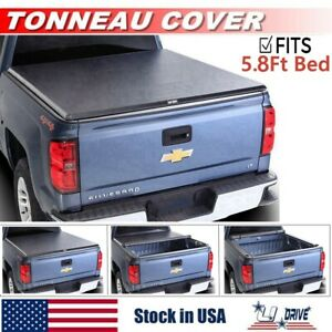 Solid Tri fold For 2014 2018 Chevy Silverado 1500 5 8ft Short Bed Tonneau Cover