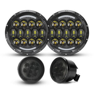 For Jeep Wrangler Jk 07 17 7 105w Round Led Headlights Halo Drl turn Lamp Combo