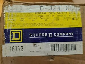 D324nrb Square D 200 Amp 240 Volt Fused 3r Outdoor Disconnect New In Box