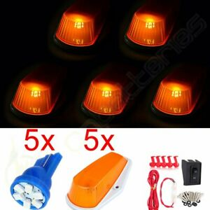 5x Amber Roof Cab Running Marker Lights 12v Led Assembly For 90 1997 Ford Truck