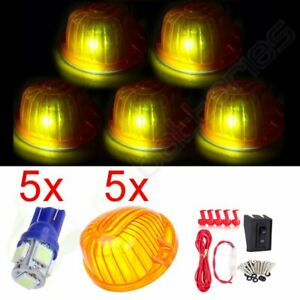 5x Roof Cab Marker Light W 5050 Us Fast Led Bulbs Wiring For Chevy gmc Truck