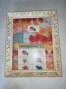 Vtg Mid Century Brass Filigree Picture Frame 11 X 14 Antique White Floral