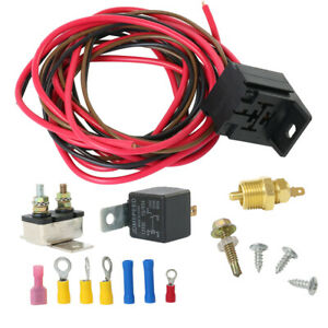 For 302 351w Engine Fan Thermostat Temperature Switch Relay Kit 175 185 Degree