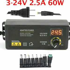 3v 24v 2 5a 60w Adjustable Dc Power Supply Adapter Control Volt Display 8 Plugs