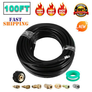 100 Ft Sewer Line And Drain Jetter Kit 1 4 x100 Hose W Sewer Nozzle Adapters