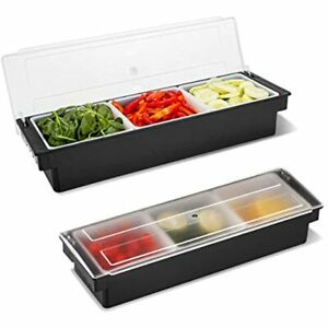 Wichemi Condiment Caddy With Lid Dispenser Tray For Candy Dips amp Salad Bar