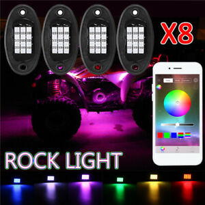 NEW RGB LED Rock Lights Wireless APP Music Chasing Offroad ATV 12V 8Pcs Pods