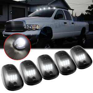 5x Smoked Lens Rooftop Cab Running Light Led 6000k For Dodge Ram 1500 2500 3500