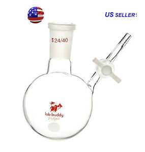 Lab1st 24 40 250ml Round Bottom Schlenk Reaction Flask With Ptfe Stopcock