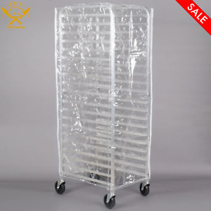 63 In Clear 8 Mil Full size Plastic Bun Pan Rack Cover Foldable With 3 Zippers