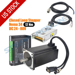 12nm Nema 34 Closed Loop Stepper Motor 1712 oz in Servo Driver 60v Power Supply