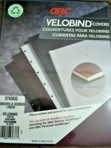 Velobind Covers 50 Sets Burgundy Punched Scored Linen 9743633 Gbc