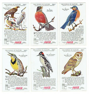 Coca Cola 1930s The World of Nature Series V - 9 Cards - Among Our Feathered Fri