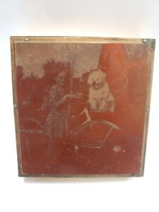 Letterpress Printing Press Wood Block Copper Plate Girl Dog Bicycle 1950s Vtg