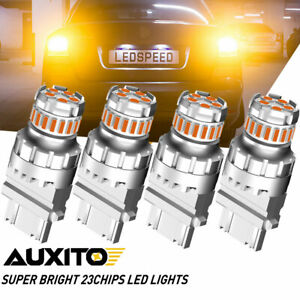 4pcs Auxito Amber Led Turn Signal Blinker Drl Parking Light Bulbs 3157 4057 4157
