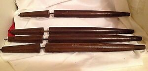 4 Vintage Mid Century 2 Tier Tapered Wood Table Legs Set