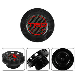 Trd Carbon Fiber Sticker With Aluminum Black Billet Engine Oil Filler Cap V2