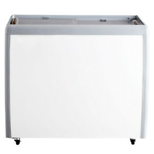 Omcan 46493 39 inch Ice Cream Display Chest Freezer With Flat Glass Top
