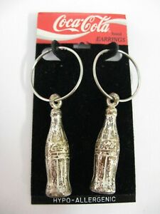 Vintage Coca Cola Earrings Coca-Cola bottle earrings new old stock on card