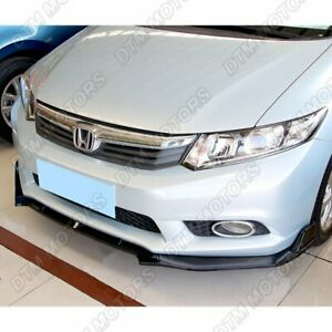 For 2012 Honda Civic 4dr Jdm Cs style Painted Black Front Bumper Body Kit Lip