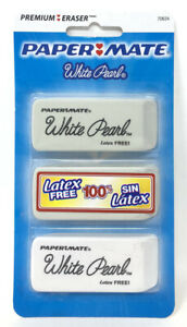Papermate White Pearl Erasers 3 Pack 100 Latex Free 70624 New Sealed School