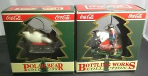 2 Coca-Cola Christmas Ornaments Polar Bear & Bottle Works Collection New in Box