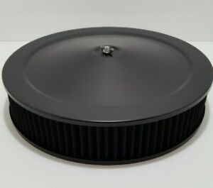 14 X 3 Black Washable Air Cleaner Black Top And Black Flat Base Chevy Hot Rod