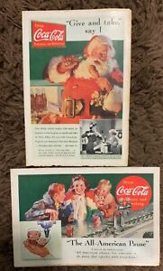 COCA COLA Vintage AD Lot of 2 1930's Santa Claus and Soda Shop Drink COKE
