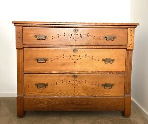Antique Oak 3 Drawer Dresser Chest Of Drawers Eastlake