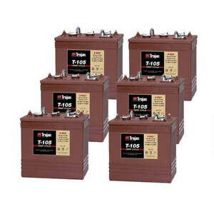 Trojan T105 6 Volt 225ah Deep Cycle Golf Cart Solar Marine Rv Batteries 6 Pack