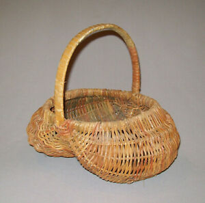 Great Old Antique Vtg Ca 1920s Willow Buttocks Basket Original Paint Very Nice