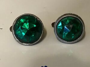 2 Vintage Green Glass Jewel Bicycle Motorcycle Old License Plate Reflectors 1