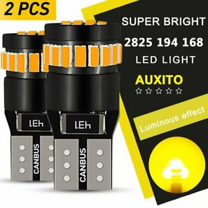 2x Auxito T10 168 2825 194 Led License Plate Light Bulb Amber For Ford Honda Gmc