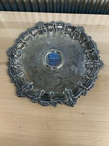 Vintage Wm Rogers Silver Plated Tray English Shell Serving Butler