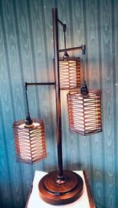 Mid Century Style Table Pole Lamp 3 Lights Maybe Asian Look Orb Bronze