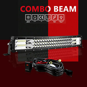 Slim 18 Led Light Bar Single Row Combo wire Offroad Driving Lamp Suv 4wd Atv 20